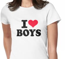 I love boys Womens Fitted T-Shirt