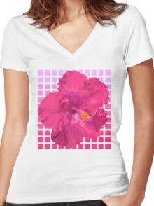 Pixel Hibiscus Women's Fitted V-Neck T-Shirt