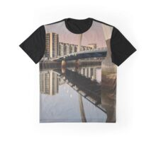 Glasgow Clyde Arc Bridge at Sunset Graphic T-Shirt