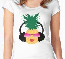 Funny cartoon pineapple lover music Women's Fitted Scoop T-Shirt