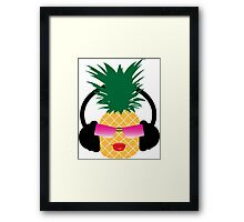Funny cartoon pineapple lover music Framed Print