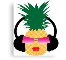 Funny cartoon pineapple lover music Canvas Print