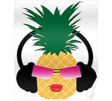 Funny cartoon pineapple lover music Poster