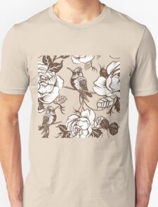 Vector seamless wallpaper pattern with birds and flowers Unisex T-Shirt