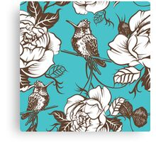 Vector seamless wallpaper pattern with birds and flowers Canvas Print
