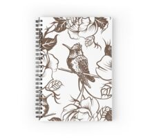 Vector seamless wallpaper pattern with birds and flowers Spiral Notebook