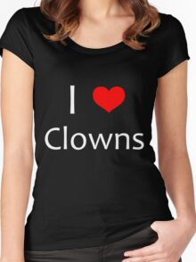 i heart clowns - white text Women's Fitted Scoop T-Shirt