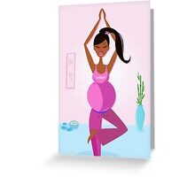 Preparation to be mom - pregnant woman practicing yoga excercise Greeting Card