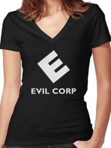 Mr. Robot Evil Corp Women's Fitted V-Neck T-Shirt