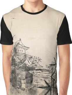 Japanese Landscape Illustration Graphic T-Shirt