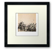 Japanese Landscape Illustration Framed Print