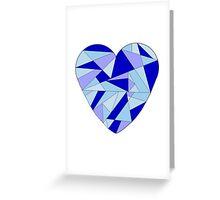 Blue Fractal Heart Greeting Card