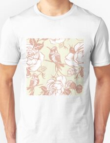 pattern with birds and flowers Unisex T-Shirt