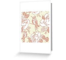 pattern with birds and flowers Greeting Card