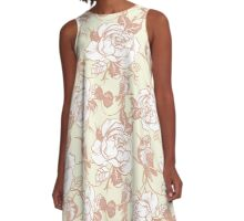 pattern with birds and flowers A-Line Dress