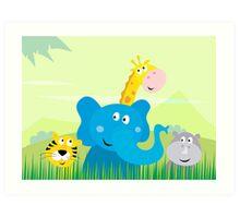 Cute safari Jungle animals - Tiger, Elephant, Giraffe and Rhinoceros Art Print
