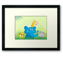 Cute safari Jungle animals - Tiger, Elephant, Giraffe and Rhinoceros Framed Print