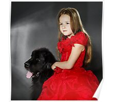 Beauty and the Beast. Little girl with big black water-dog portrait, isolated on grey Poster