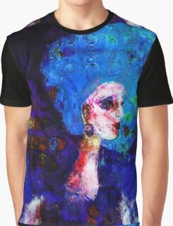 Blue Haired Girl on Windy Day  Graphic T-Shirt