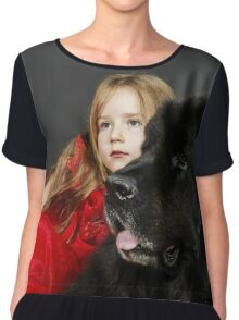 Beauty and the Beast. Little girl with big black water-dog portrait, isolated on grey Chiffon Top