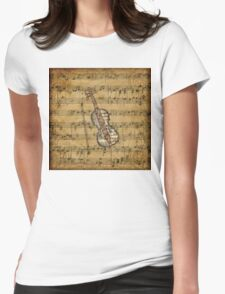 Vintage Sheet Music Violin Womens Fitted T-Shirt