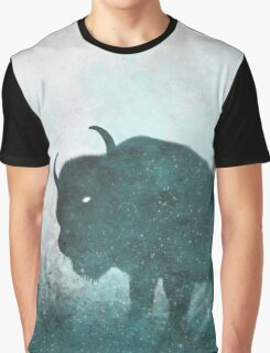 Teal Ghost: Bison Silhouette Graphic T-Shirt
