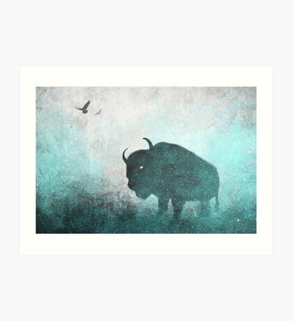 Teal Ghost: Bison Silhouette Art Print