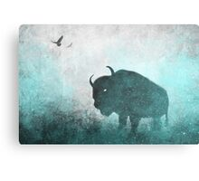 Teal Ghost: Bison Silhouette Canvas Print