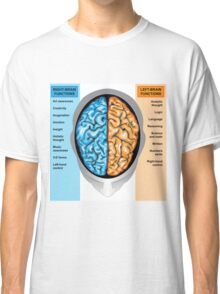 Human brain left and right functions Classic T-Shirt