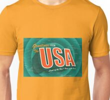 Vintage style Greeting Card or postcard of the USA Land of the Free and Home of the Brave. Unisex T-Shirt