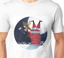 Reindeer takes a selfie with Santa Claus stuck in the chimney.  Unisex T-Shirt
