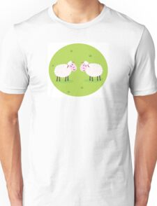 Two Happy and White Sheeps on green field - cute Characters Unisex T-Shirt