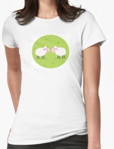 Two Happy and White Sheeps on green field - cute Characters Womens Fitted T-Shirt