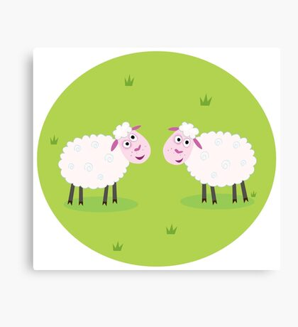 Two Happy and White Sheeps on green field - cute Characters Canvas Print