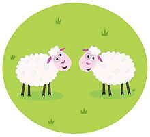 Two Happy and White Sheeps on green field - cute Characters Photographic Print
