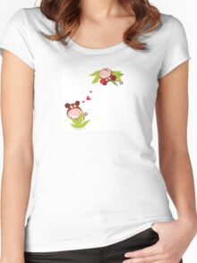 Monkey male and female in love looking each at other Women's Fitted Scoop T-Shirt