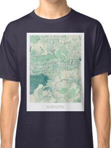 Shenzen Map Blue Vintage Classic T-Shirt