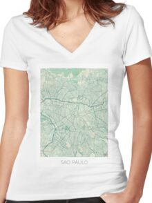 Sao Paulo Map Blue Vintage Women's Fitted V-Neck T-Shirt