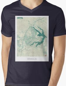 Brasilia Map Blue Vintage Mens V-Neck T-Shirt