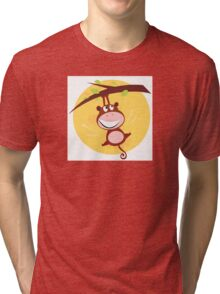 Brown cute monkey hanging from tree. Cartoon illustration of brown cute monkey Tri-blend T-Shirt