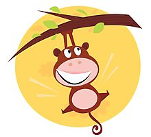 Brown cute monkey hanging from tree. Cartoon illustration of brown cute monkey Photographic Print
