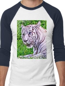 White Bengal Tiger Men's Baseball ¾ T-Shirt