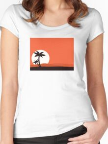 Retro holiday red background with sunset and palm silhouette Women's Fitted Scoop T-Shirt