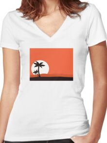 Retro holiday red background with sunset and palm silhouette Women's Fitted V-Neck T-Shirt