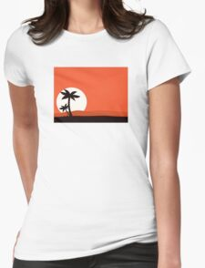 Retro holiday red background with sunset and palm silhouette Womens Fitted T-Shirt