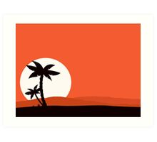 Retro holiday red background with sunset and palm silhouette Art Print