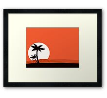 Retro holiday red background with sunset and palm silhouette Framed Print