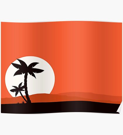 Retro holiday red background with sunset and palm silhouette Poster