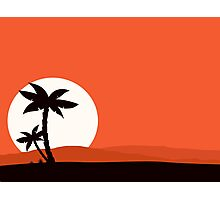 Retro holiday red background with sunset and palm silhouette Photographic Print