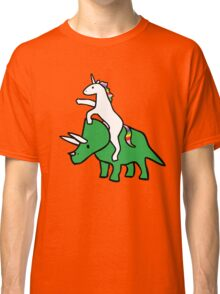 Unicorn Riding Triceratops Classic T-Shirt